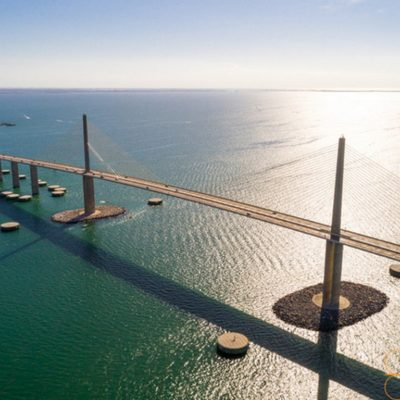 Aerial Drone Photograph of the Skyway Bridge
